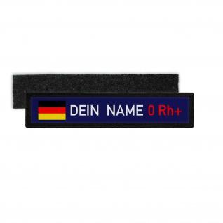 Namenschild Deutschland Blutgruppe 0 Rh positiv Bundeswehr BW Einheit #34494