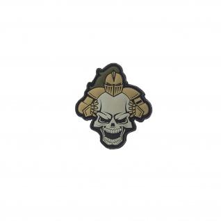 3D Rubber Skull Warrior Patch Krieger Paintball Alfashirt 10 x 9 cm#26949