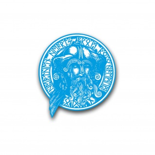 Odin, Raben und Runen Aufkleber Sticker Wikinger Gott fürs Auto 20x21cm#A4307