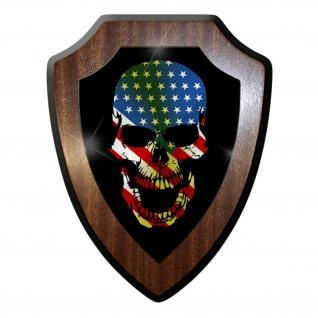 Wappenschild / Wandschild - USA Skull Totenkopf Tattoo US Amerika Fahne- #9669