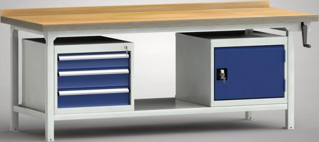 Hydraulikwerkbank Industriewerkbank 2000x800x750-950 mm 3 Schubladen 1 Schran...