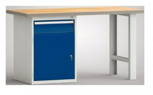 Werkbank mit Buchenmultiplexxplatte und 1 Schrankfach 1 Schublade
