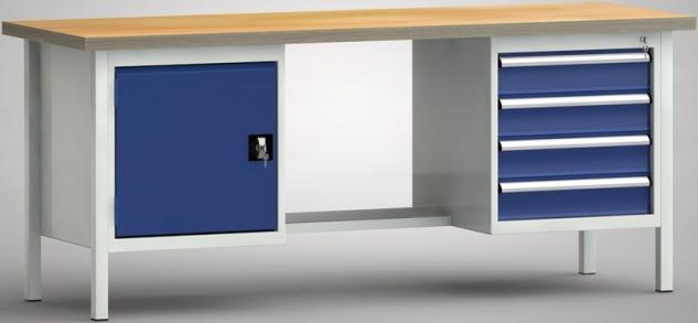 Werkbank 2000x700x840 mm LxTxH 4 Schubladen 1 Schrankfach WS202N-2000M40-E7046