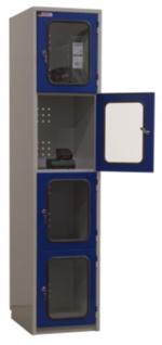 Akku-Wertfachschrank 1850x415x540 mm HxBxT 4 Abteile mit Industriesteckdose 0...