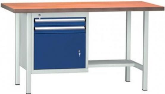 Werkbank 1500x700x840 mm LxTxH 2 Schubladen 1 Schrankfach WS118N-1500M40-E1691