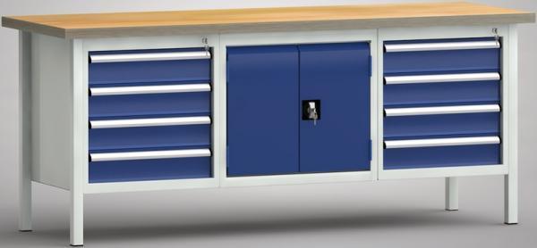 Werkbank 2000x700 mit Türenschrank + 8 Schubladen