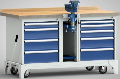 Profi-Werkbank Industriewerkbank fahrbar 1700x700x871 mm 9 Schubladen 1 Schraubstock+Lift WP797N-1700M45-E7020