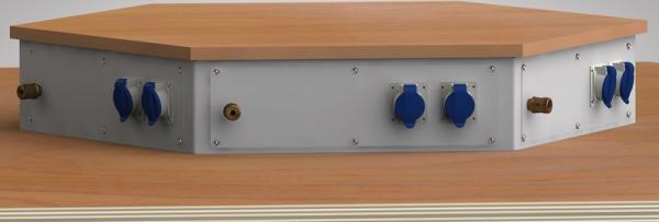 Sechseckwerkbank Energieaufsatz Arbeitsplatzlänge 1350 mm 6E-EAB-K135-002