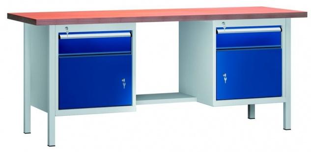 Werkbank 2000x700x840 mm LxTxH mit 2 Schubladen und 2 Schränken