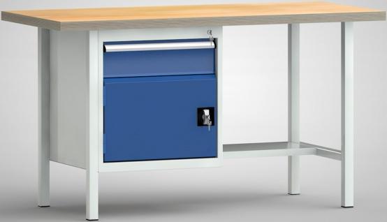 Werkbank 1500 x 700 x 840 mm LxTxH 1 Schublade 1 Schrankfach WS118N-1500M40-E...