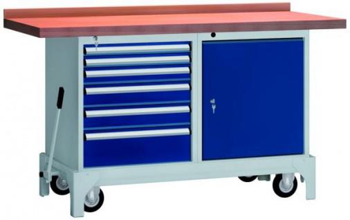 Werkbank fahrbar mit Hebesystem 1500x700x845 mm LxTxH mit 6 Schubladen, 1 Schrank