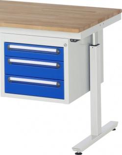 Schubladenblock 3 Schubladen als Unterbaucontainer 425 x 600 x 395 mm LxTxH