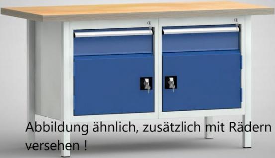 Werkbank fahrbar 1500x700x840 mm LxTxH 2xSchublade 2xSchrank FP177N-1500M40-E16501