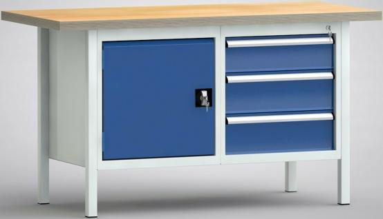 Werkbank 1500 x 700 x 840 mm 1 Schrankfach und 3 Schubladen WS177N-1500M40-E1660