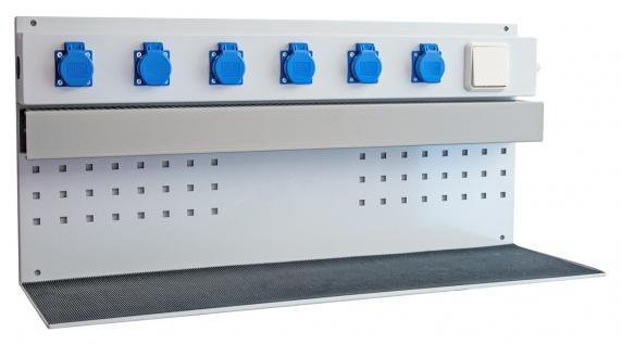 Akkuladeregal Energieleiste mit 6 Einbausteckdosen ohne Anschlusskabel, Stecker