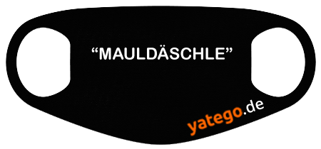 "yatego Basics Mundmaske / Gesichtsmaske ""Mauldäschle"" - Lustige Maske mit Humor - Schwarz"