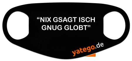 """yatego Basics Mundmaske / Gesichtsmaske """"Schwäbisch Nix Gsagt"""" - Lustige Maske mit Humor - Schwarz"""