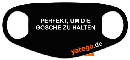 """yatego Basics Mundmaske / Gesichtsmaske """"Schwäbisch Gosche halten"""" - Lustige Maske mit Humor - Schwarz"""