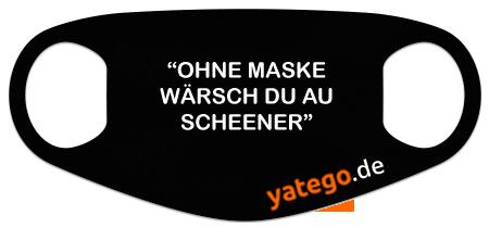 "yatego Basics Mundmaske / Gesichtsmaske ""Schwäbisch Ohne Maske"" - Lustige Maske mit Humor - Schwarz"