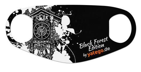 "yatego Basics Mundmaske / Gesichtsmaske ""Black Forest Edition / Cuckoo Splash"" - Farbvarianten"
