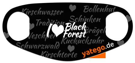 "yatego Basics Mundmaske / Gesichtsmaske ""I Love Black Forest"" - Schwarz"