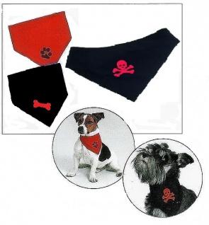 Karlie Hunde Halstuch schwarz 50 - 65 cm Totenkopf, Pfoten oder Knochen *
