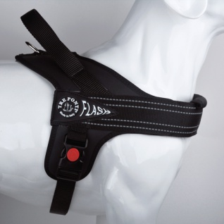 Tre Ponti Geschirr Linea Flash schwarz verstellbarer Bauchgurt 80 - 100 cm bis ca 30 - 40 kg