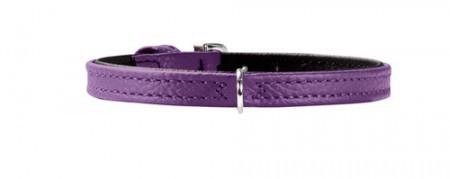 Hunter Halsband Tiny petit Gr.24 nickel Nappaleder violett/Nappaleder schwarz
