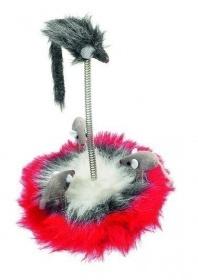 Karlie Katzenspielzeug Plüschmaus Familie 14 cm Durchmesser auf Feder mit Catnip