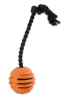 Hunter Hundespielzeug Vollgummispirale, 10 cm mit Wurfseil, orange