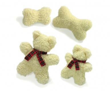 Karlie Hunde Plüschspielzeug mit Lammfelloptik Bär oder Knochen mit Squeeker