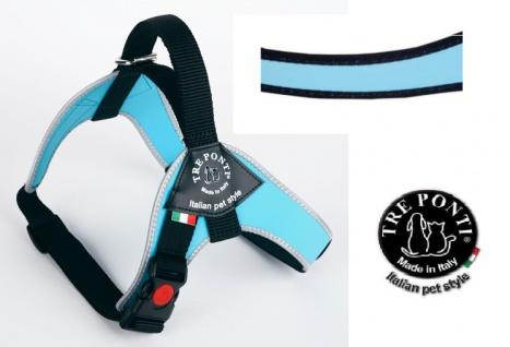 Tre Ponti Geschirr Brio hellblau schwarzer Rand 80 - 100 cm bis ca 30 - 40 kg