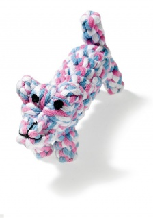Karlie Welpenspielzeug Puppy Hund Baumwolle, ca. 17 cm blau/rosa/weiß