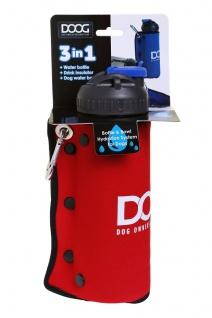 DOOG 3-in-1 Wasserflasche + faltbaren Napf in blau oder rot