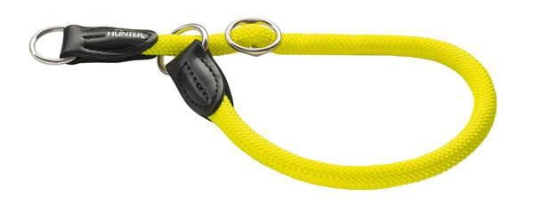 Hunter Dressurhalsung Freestyle Neon 45/10 mit Stoppring, Tau gelb