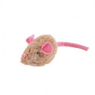 Hunter Katzenspielzeug Plüschmaus 5 cm, mit Sound grau-beige farblich sortiert, mit Catnip