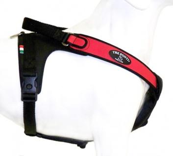 Tre Ponti Geschirr Potenza mit schwarzen Stoffrand rot 100 - 120 cm bis ca. 40 - 60 kg