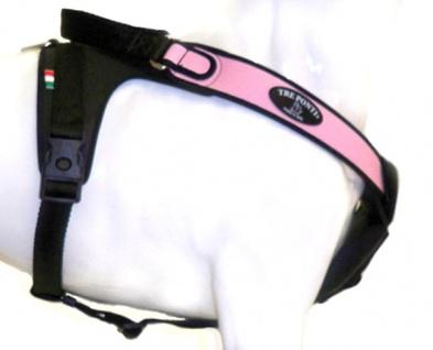 Tre Ponti Geschirr Potenza mit schwarzen Stoffrand rosa 80 - 100 cm bis ca. 30 - 40 kg