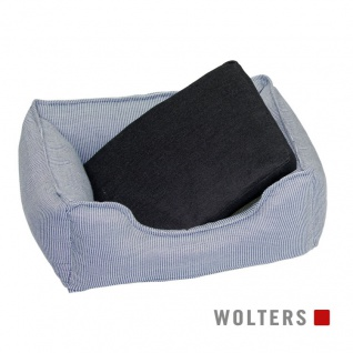 Wolters Dog Lounge Noble Stripes denim/granit 105 x 80 cm