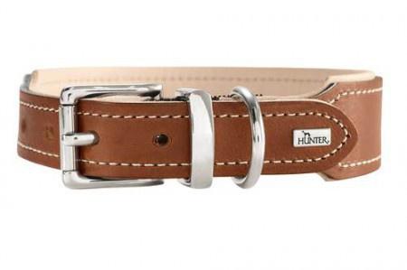 Hunter Halsband Virginia, 32 rost/beige, Leder