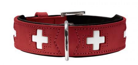 Hunter Halsband Swiss nickel Gr.50 Ökoleder rot/Nappa schwarz