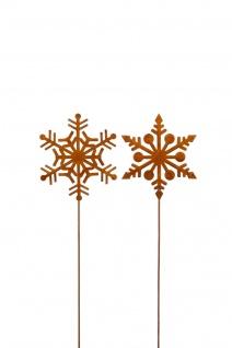 2x Schneeflocke zum Stecken Metall rost Dekoration Weihnachten Garten Balkon