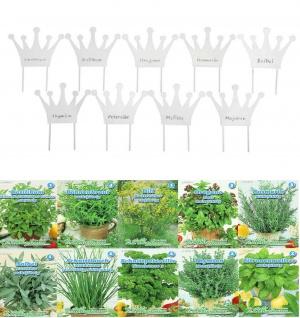 9er Set Kräuterschilder Metall Krone weiß klein + 10er Set Kräuter Saatgut Samen