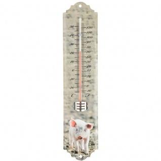 Wandthermometer Außenthermometer Thermomter mit Fotodruck SCHWEIN PIG