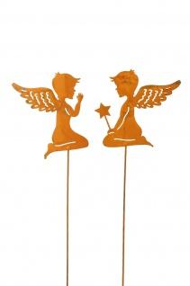2x zauberhafte Engel zum Stecken Metall rost Dekoration Weihnachten Stab