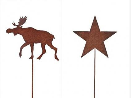 ELCH STERN Stecker Stab für Beet oder Balkon Metall ROST 51cm Deko Weihnachten
