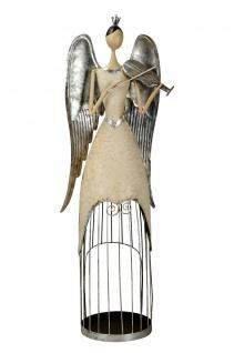 Engel Metall Metallengel Geige 83, 5cm Dekoration Weihnachten Winter XL Stil