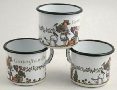 Pott Becher Kaffee Tee aus Emaille Gartenfreundin 0, 4 Liter
