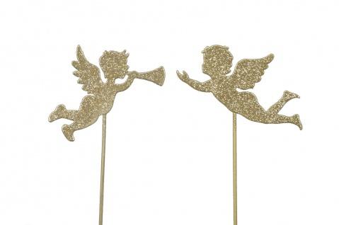 2x zauberhafte Engel zum Stecken Metall champagner Glitter Deko Weihnachten
