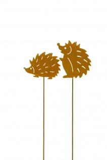 Igel Stecken Metall rost Dekoration Garten Herbst Winter Balkon Deko draußen 2x